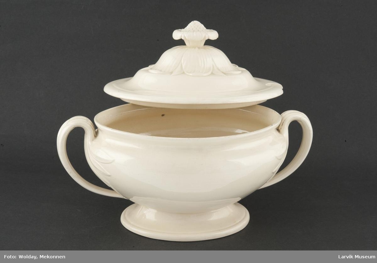 Terrin:  Form: oval form, håndtak formet som en stilk med blader som sprer seg utover på terrinen. opphøyet blomst på lokket