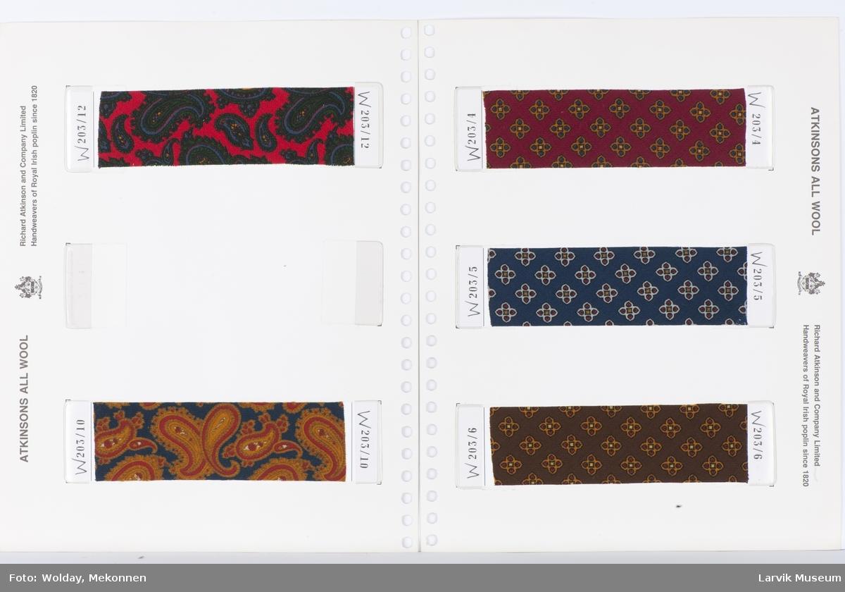 Produktperm/katalog med noen 2-sidig ark à 3 stoffprøver på hver side med poplinstoff