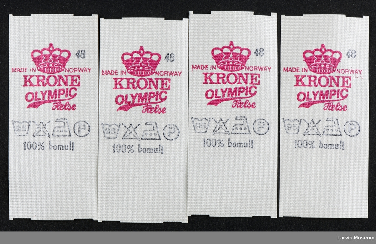 Logo: KRONE OLYMPIC Helse, Made in Norway, 100% bomull vaske- strykesymbol