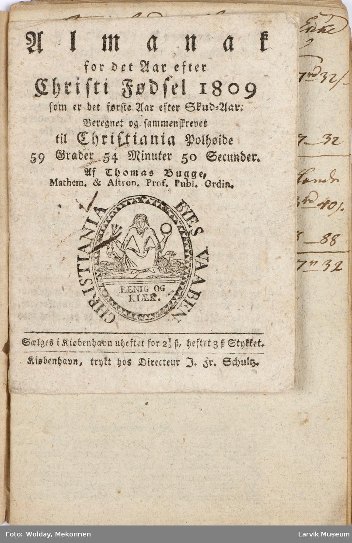 Forsiden påskrevet 1809 med skjønnskrift