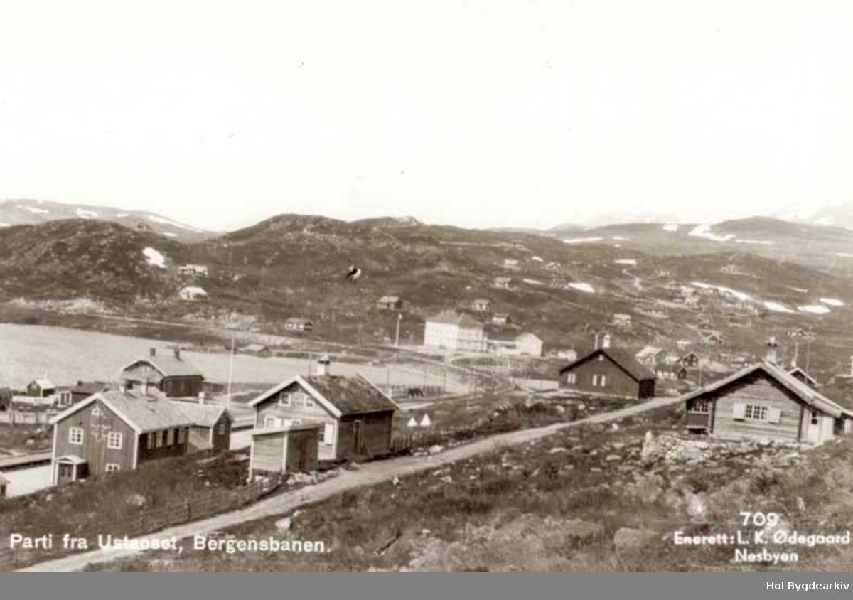 Tettstad, Ustaoset Hotell, Hyttegrend, bilveg, Bergensbanen,