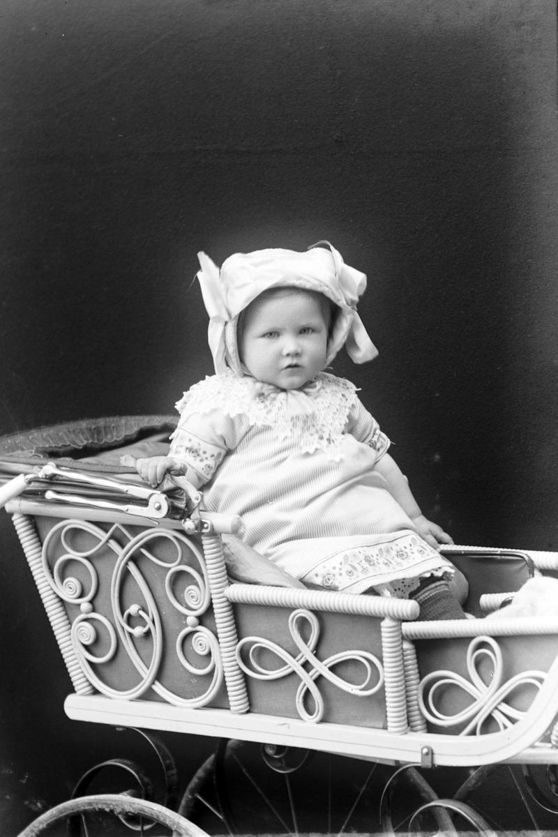 Studioportrett av et barn i en vogn.