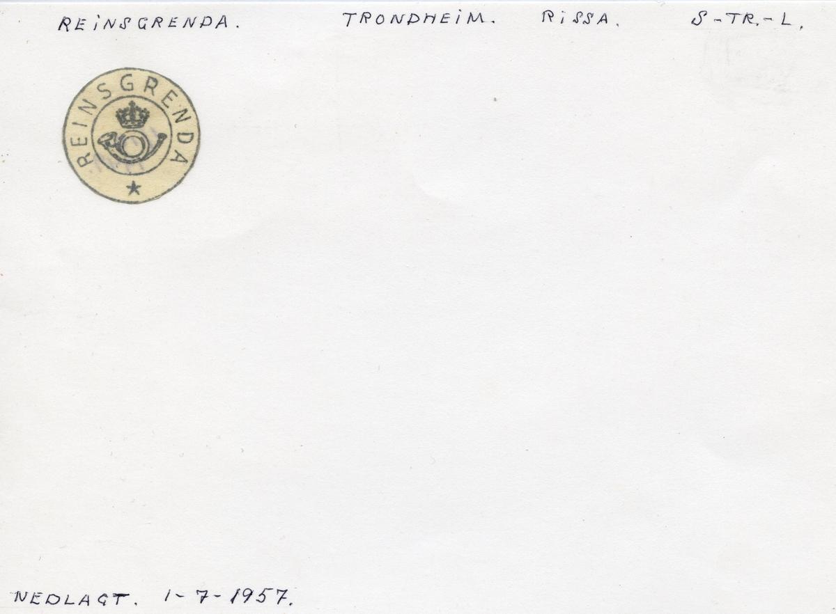 Stempelkatalog Reinsgrenda, Trondheim, Rissa, Sør-Trøndelag