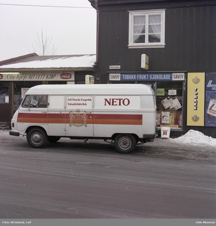Ne-To tobakkfabrikk, varebil, reklame, tobakksforretning