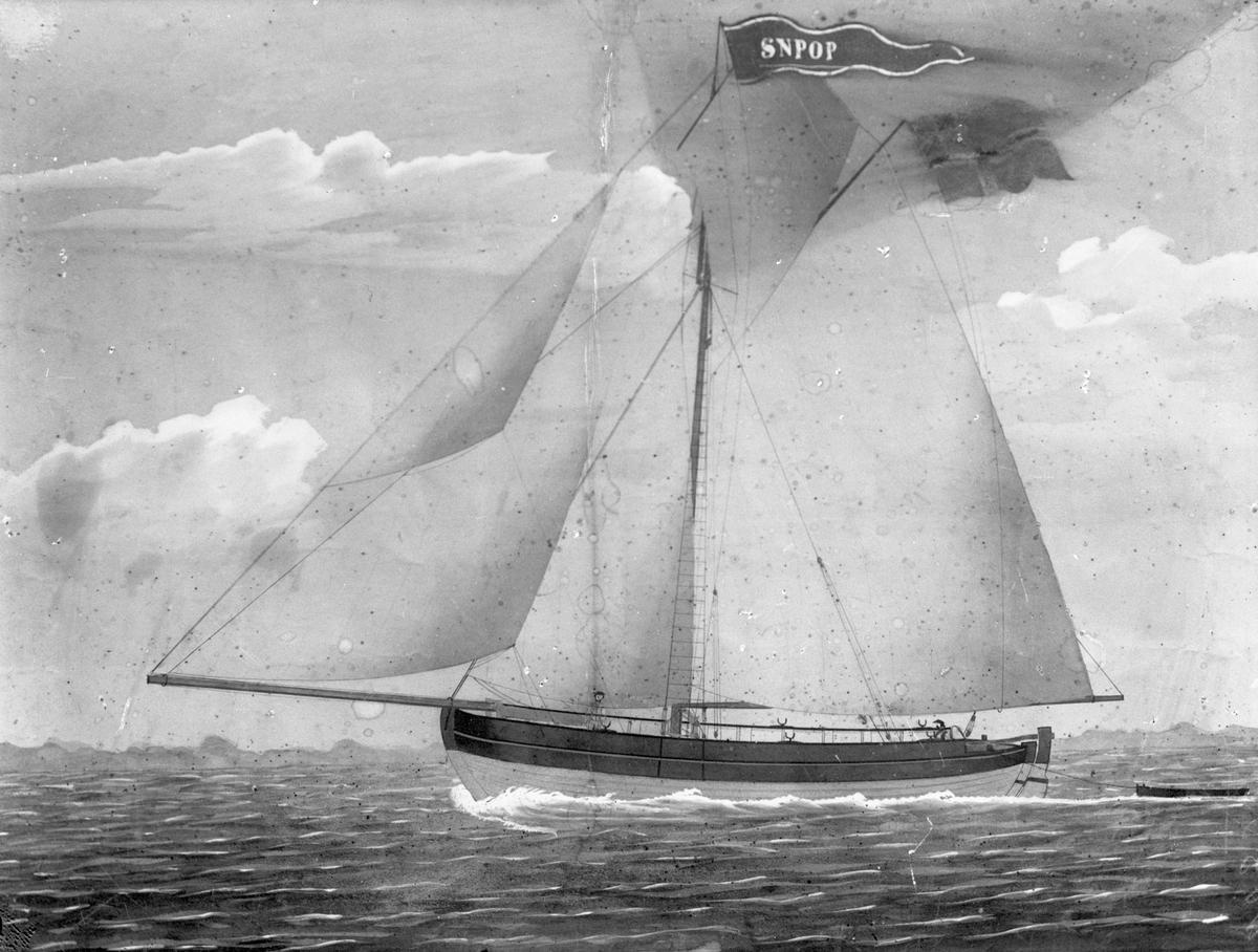 """Avfotografert maleri av skøyta """"Snapop"""" fra Haugesund."""