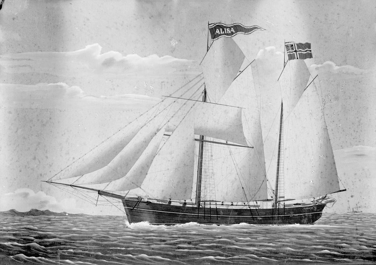 """Avfotografert maleri av galeasen """"Alisa""""/""""Alica"""" fra Haugesund i åpent farvann."""