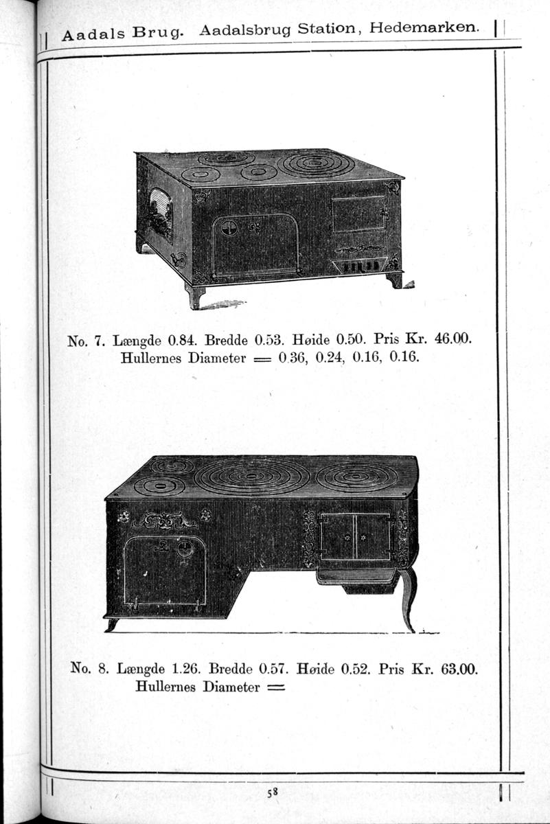 Avfotografert produktkatalog fra 1882. Illustrert katalog/prisliste fra Aadals Brug, Jern og metalstøperi. Ådalsbruk, Løten. Jernovnillustrasjoner fra katalogen.
