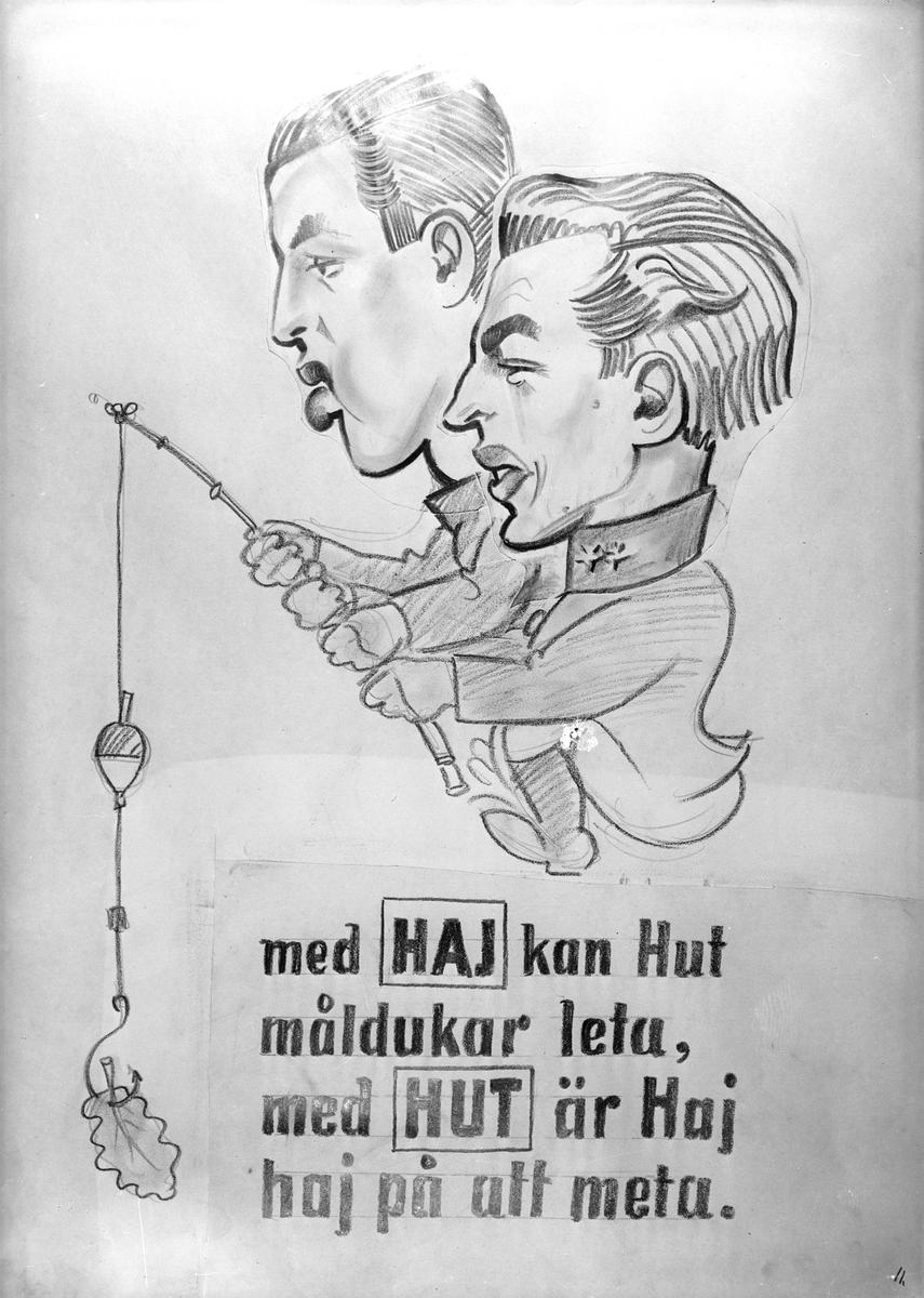 Karikatyrbild av militärer ur flygvapnet, 1930-tal.  Märkt 'HAJ', 'HUT'.   Avfotograferad teckning.