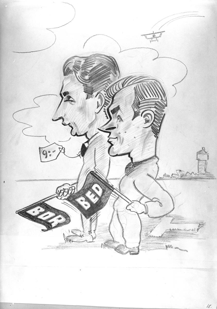 Karikatyrbild av militärer ur flygvapnet, 1930-tal.  Märkt 'BOR', 'BED'.   Avfotograferad teckning.