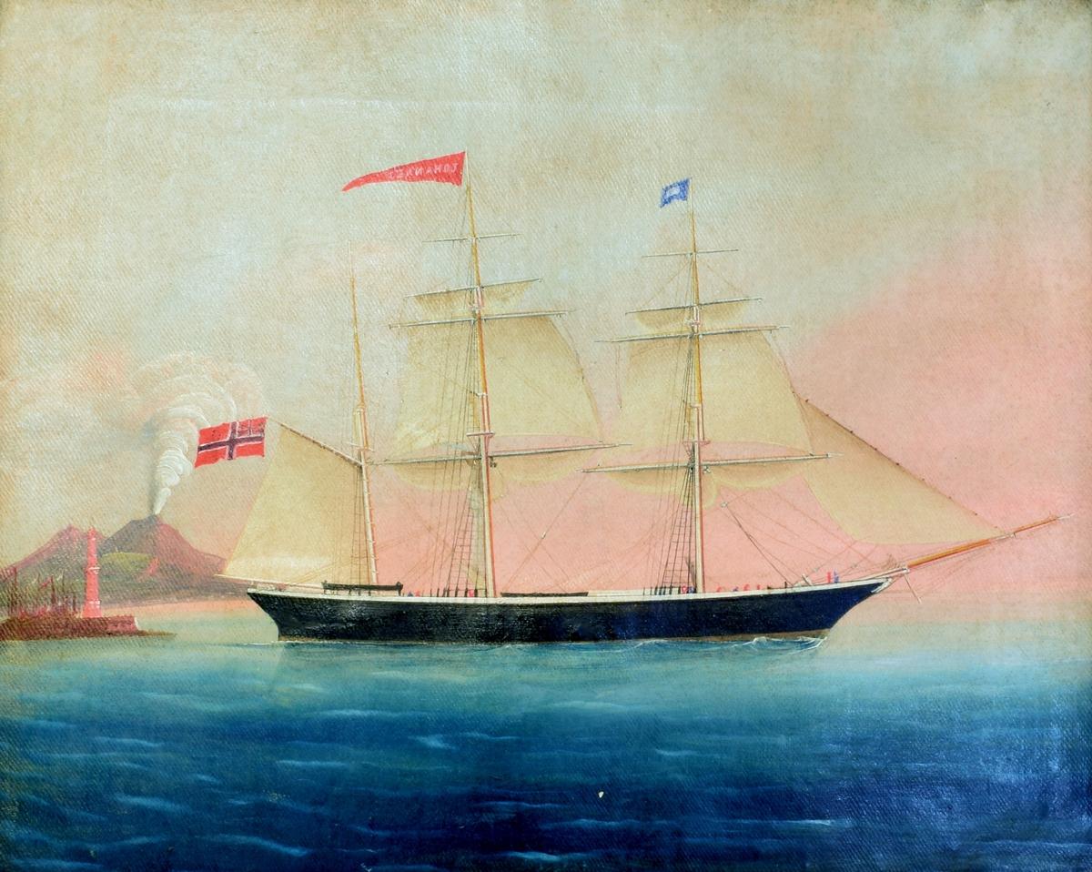 """SKutebilde av barken """"Johannes"""". Seilskipet ble bygget ved Beers garveri i Tjørsvagstrand i 1861 og skal ha vært det største seilskipet som ble bygget i Flekkefjord. Det forliste i 1862."""