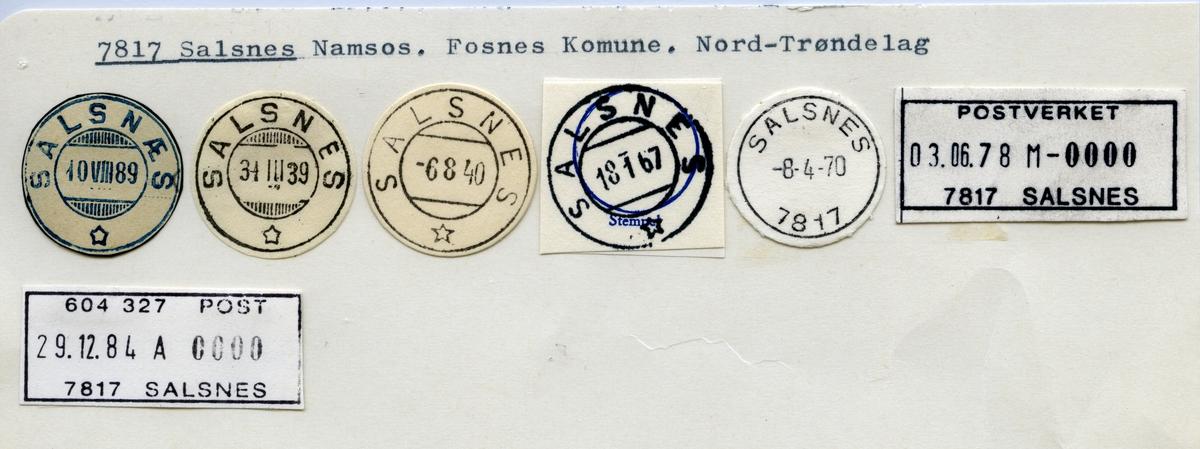 Stempelkatalog  7817 Salsnes, Fosnes kommune, Nord-Trøndelag