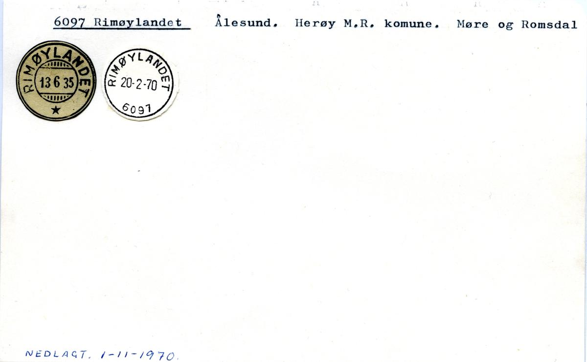 Stempelkatalog 6097 Rimøylandet, Ålesund, Herøy, Møre og Romsdal