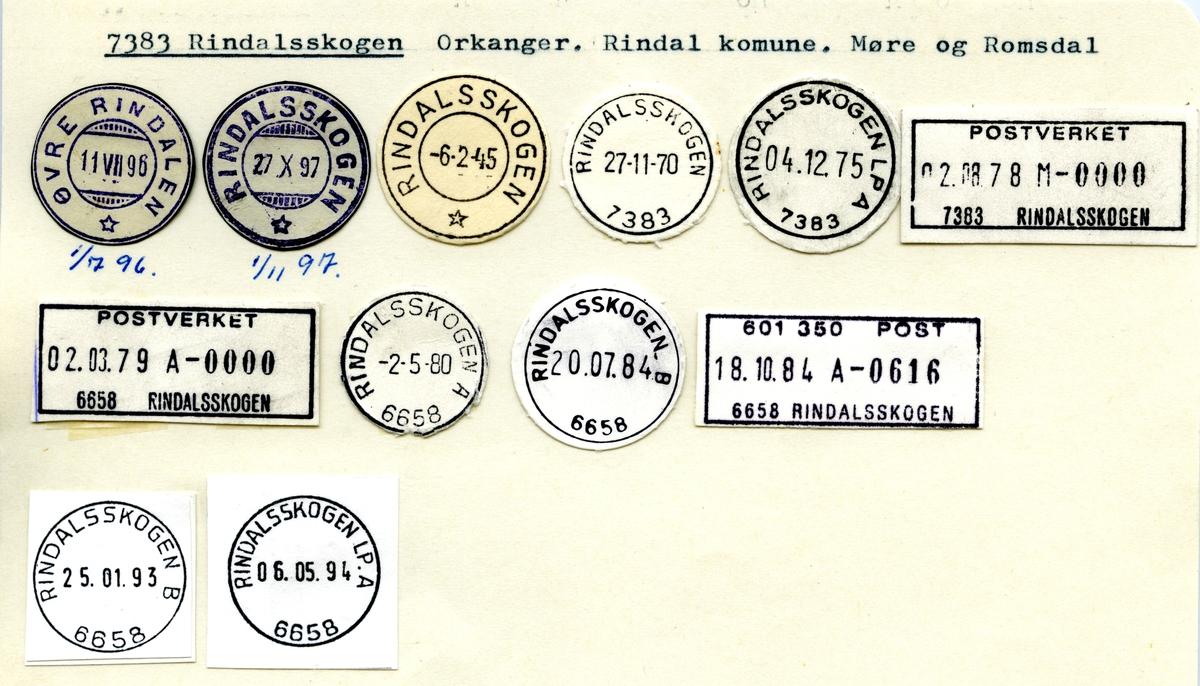 Stempelkatalog 7383 Rindalsskogen (Øvre Rindalen), Orkanger, Rindal, Møre og Romsdal