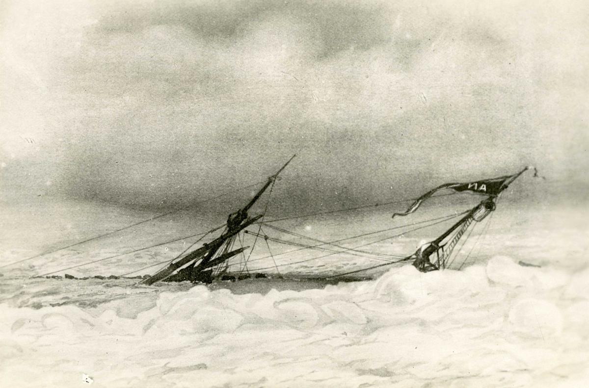 """D/S Antarctic (b.1871, J. Jørgensen, Drammen) i isen. Rederi: Rederiactieselskabet """"Antarctic"""" (Svend Foyn)."""