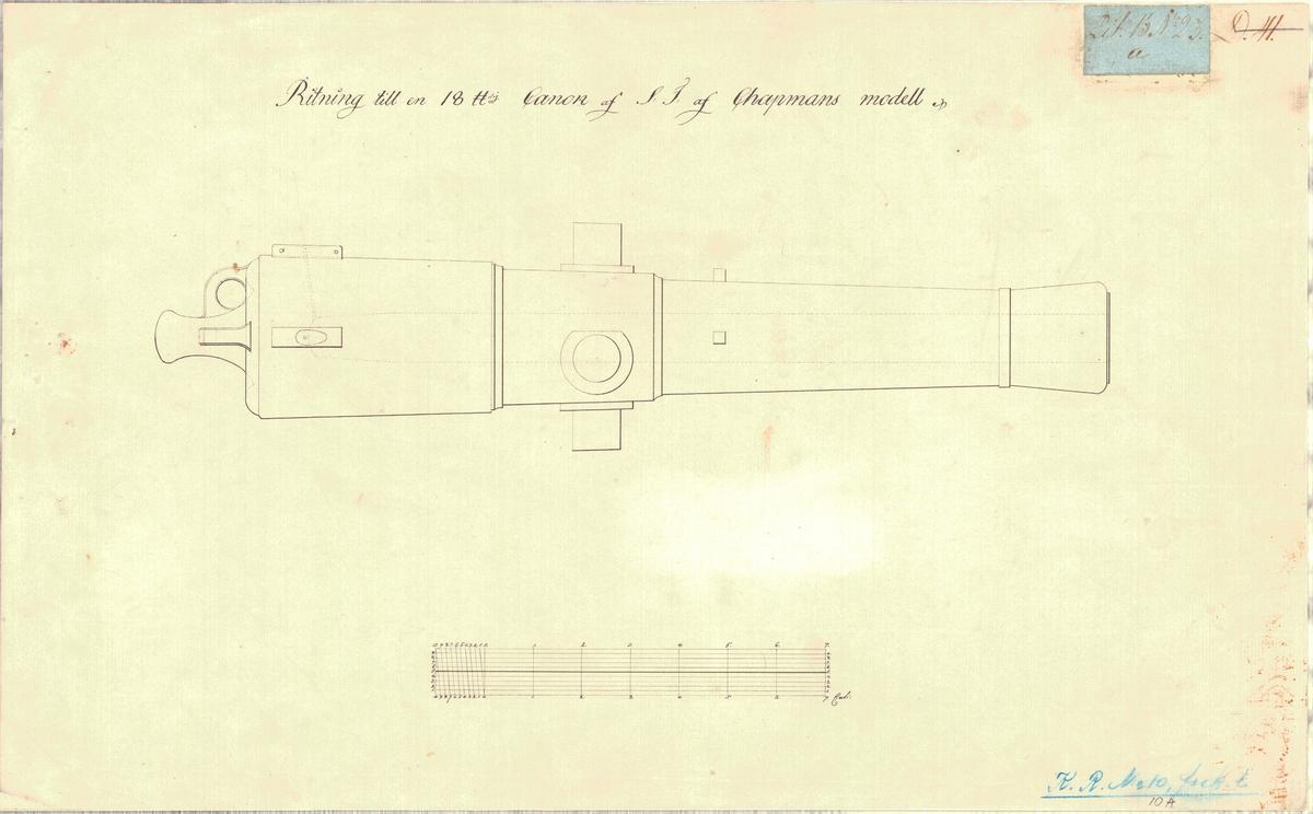Ritning till en 18 punds kanon av F.H. af Chapmans modell