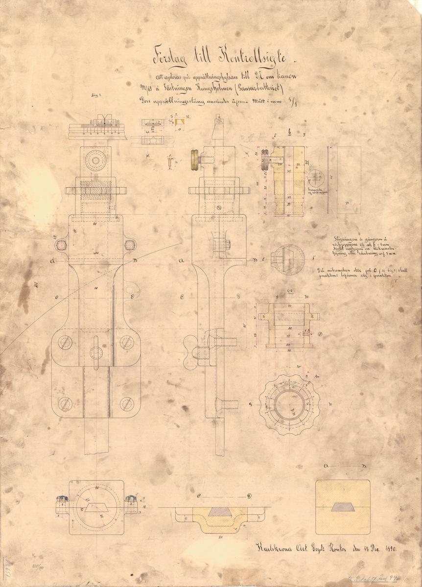 Förslag till kontrollsikte att apteras på uppsättningshylsan till 27 cm kanon m/69 å Fästningen Kungsholmen (Pansarbatteriet)