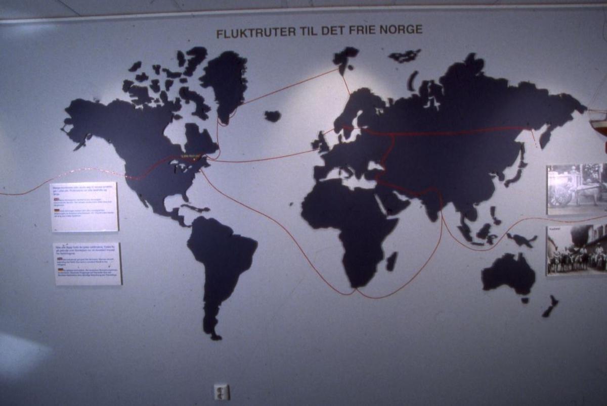 """Kart med påskrift """"fluktruter til det frie norge"""""""