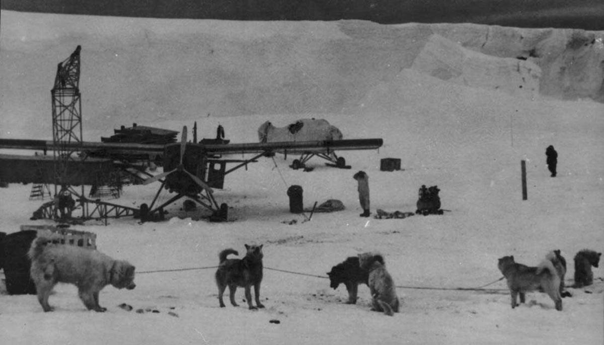 To fly på isen, Otter OAG og OAF. Heisekran og mye utstyr. Flere personer og ett hundespann ved flyene.