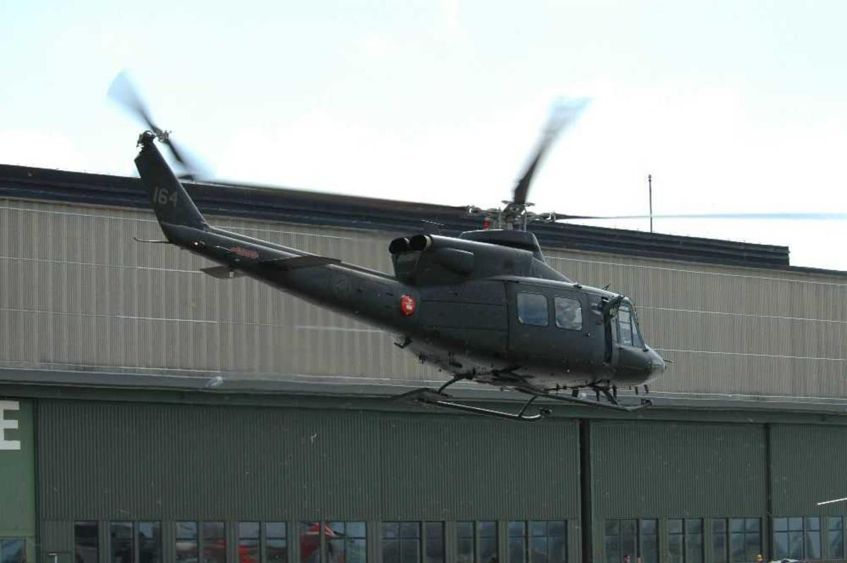 Helikopter under avgang, Bell 412SP, fra 339 skvadron