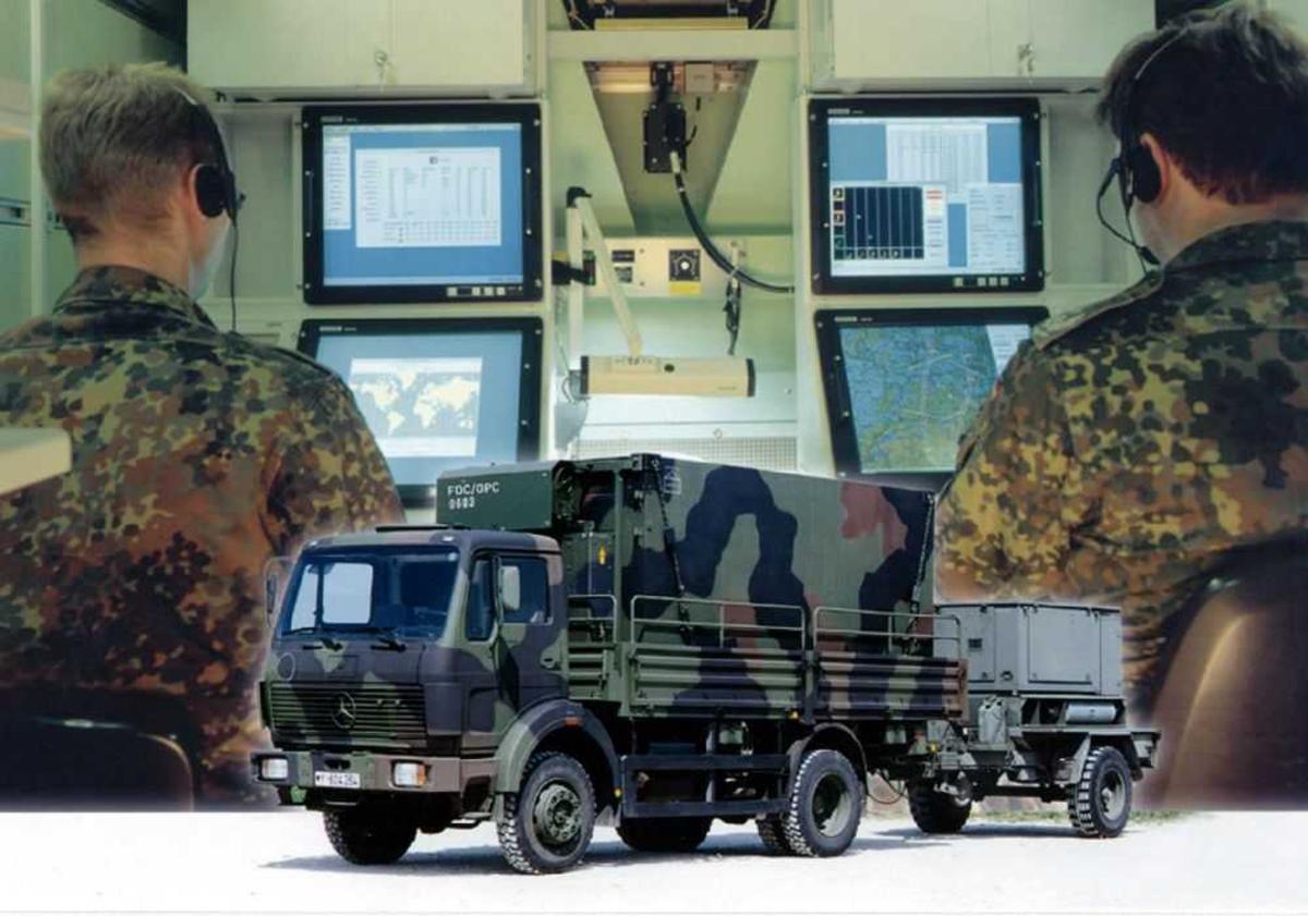 Inne i et militært kjøretøy, To personer med diverse kontrollsystemer