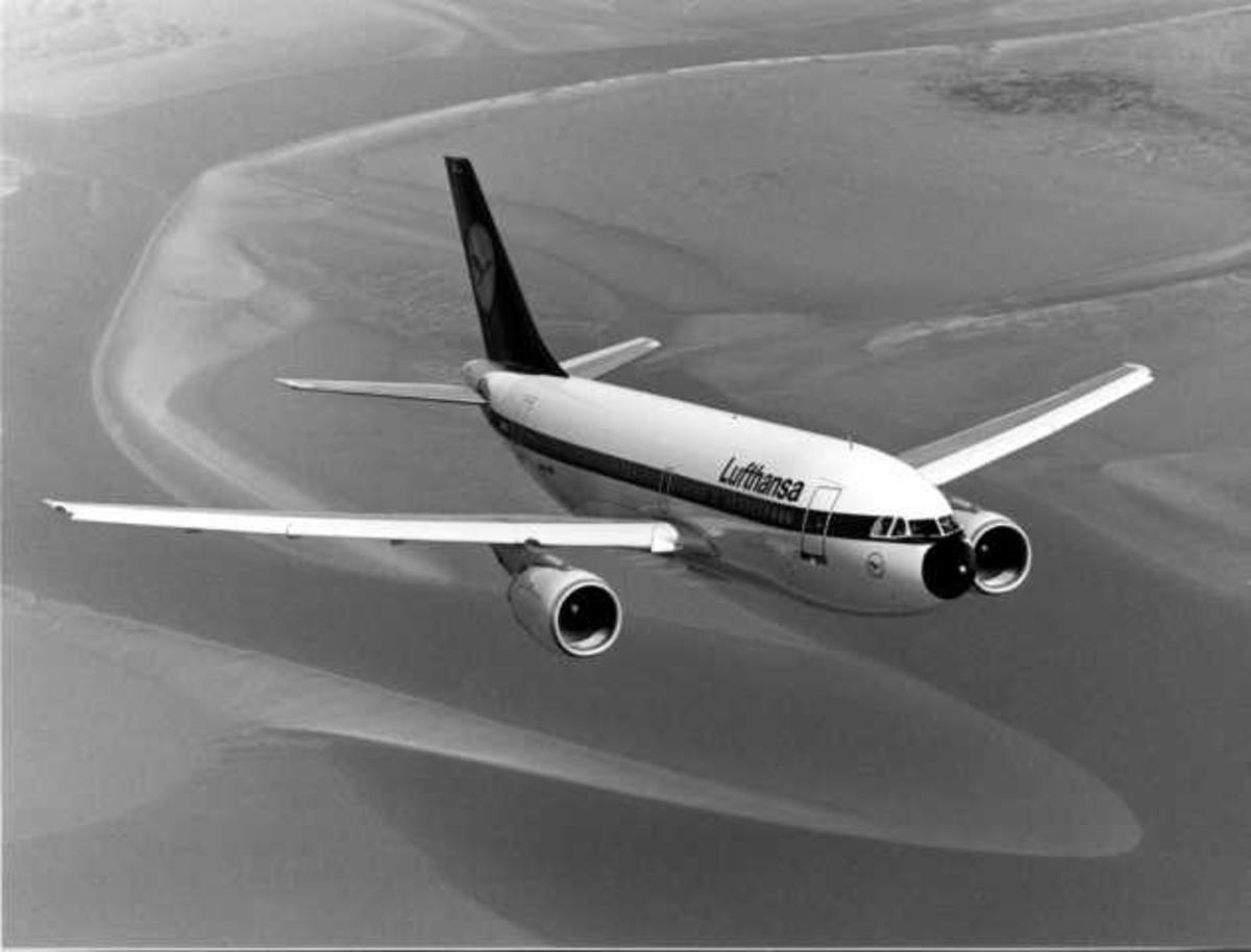 Luftfoto. Ett fly i luften. Airbus A310