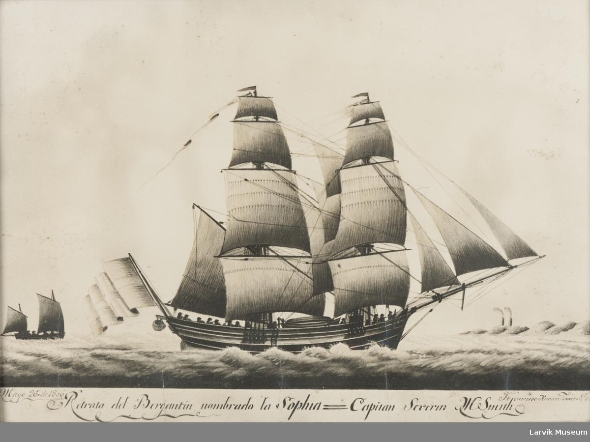 """""""Sophia"""", ført av Kaptein S.M. Smith"""