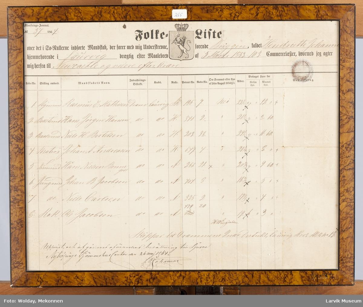 "folkeliste briggen ""Hendriette Johanne"", 5. mars 1853."