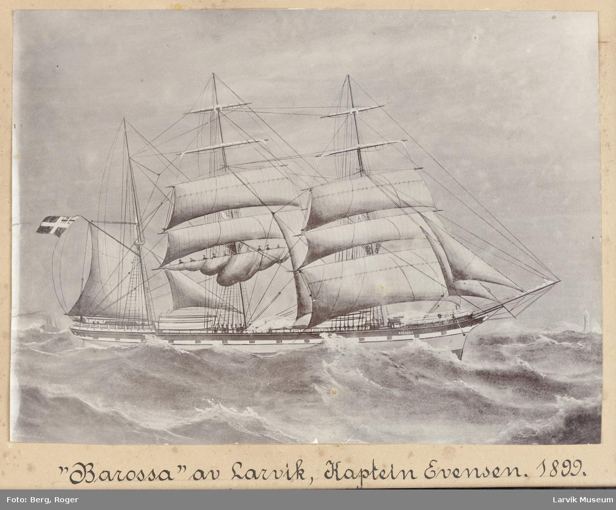 """Bark """"Barossa"""" av Larvik. Kapt. Evensen 1899."""
