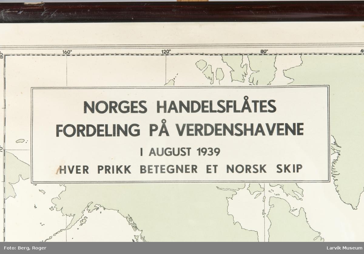 Norges Handelsflåtes fordeling på verdenshavene i august 1939. Hver tød prikk betegner et norsk skip.