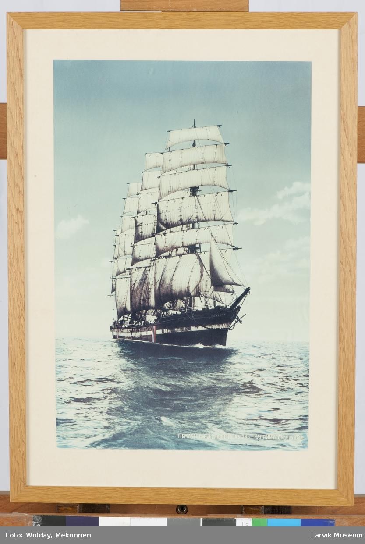 """Lancing"" av Larvik, firmastet fullrigger, utenfor Skagen.  Kaptein N.B. Melsom"