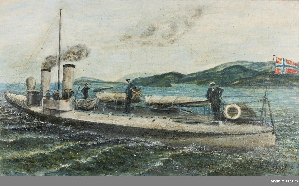 Gammel, norsk torpedobåt md mannskap