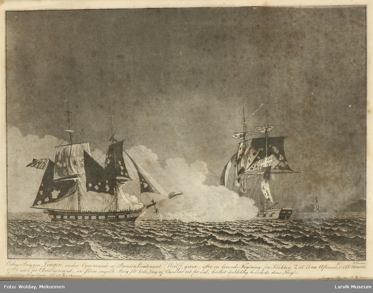 Oorlogsbrigg Lougen etter en fektning med engelsk brigg