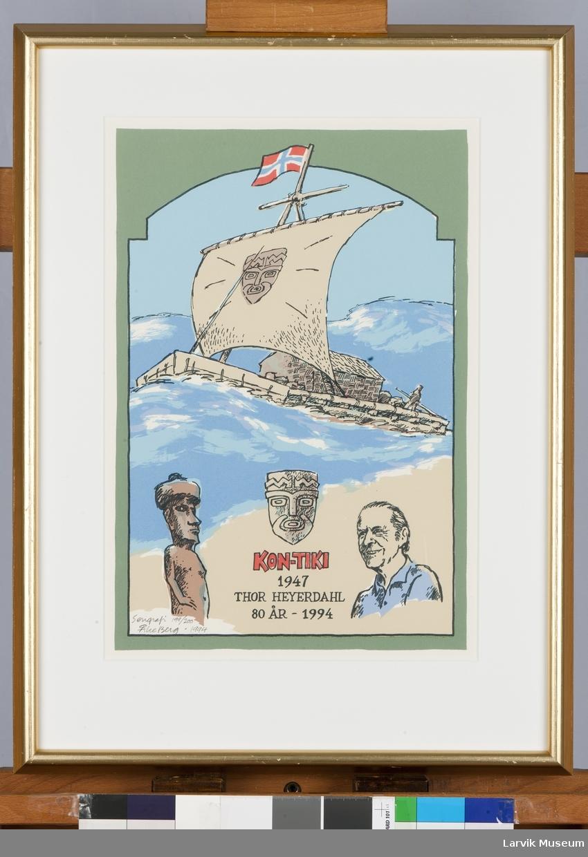 Kon-Tiki 1947. Thor Heyerdahl 80 år 1994.