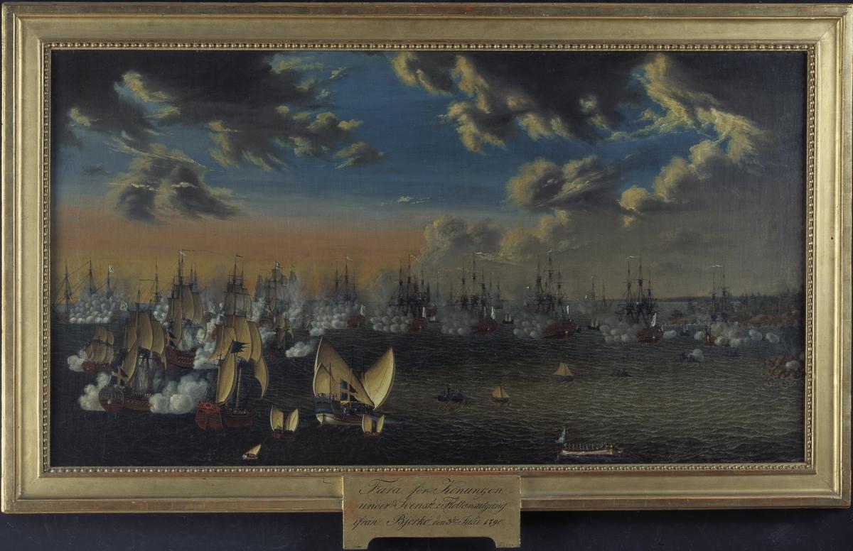 """[plakett i ramens n kant:] """"Fara för Konungen under Svenska Flottans utgång ifrån Björkö, den 3dje Julii 1790."""""""