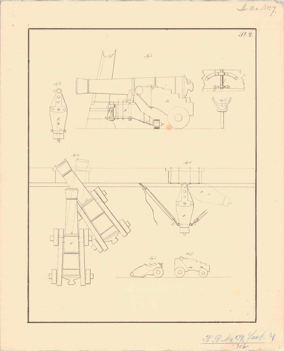 9 st ritningar visande Commander Marshalls inventerade nya lavett för kanoner om skeppsbord