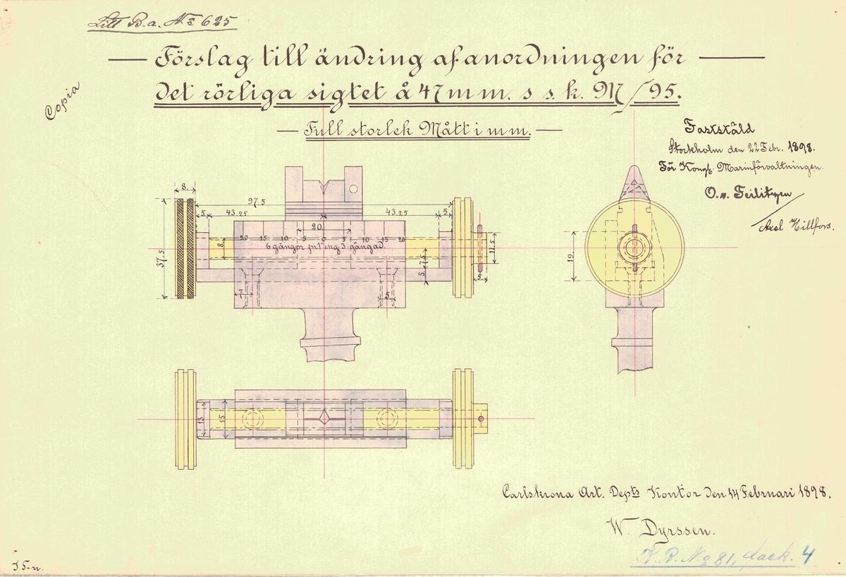 Förslag till ändring av anordning för det rörliga siktet å 47 mm s s m/95