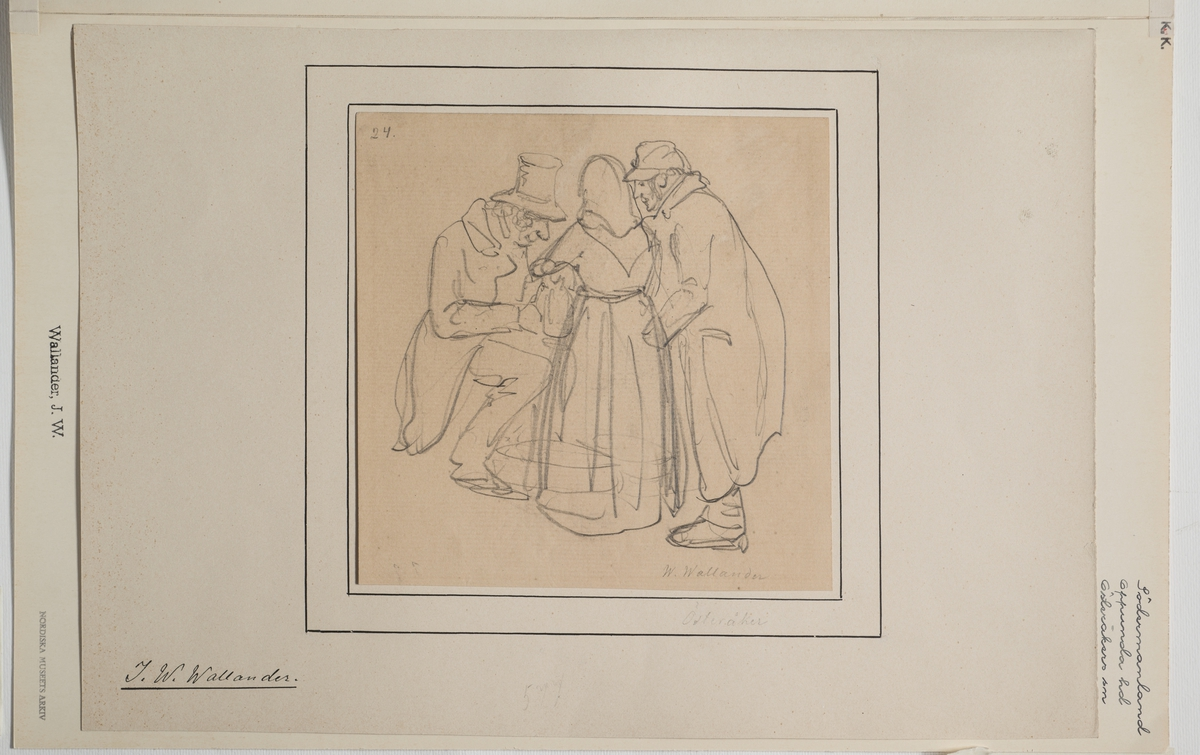 Blyertsskiss av två män och en kvinna. Mannen längst t.v sitter. De övriga står framför honom .  J.W. Wallander. Södermaland, Oppunda hd, Österåker sn. (?)