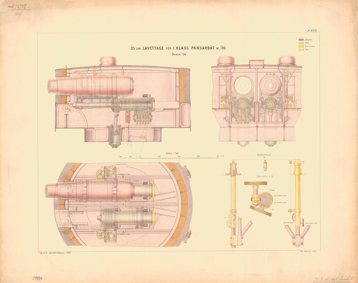 25 cm lavettage för 1 klass pansarbåt m/86. Utgiven av Marinförvaltningen 1889