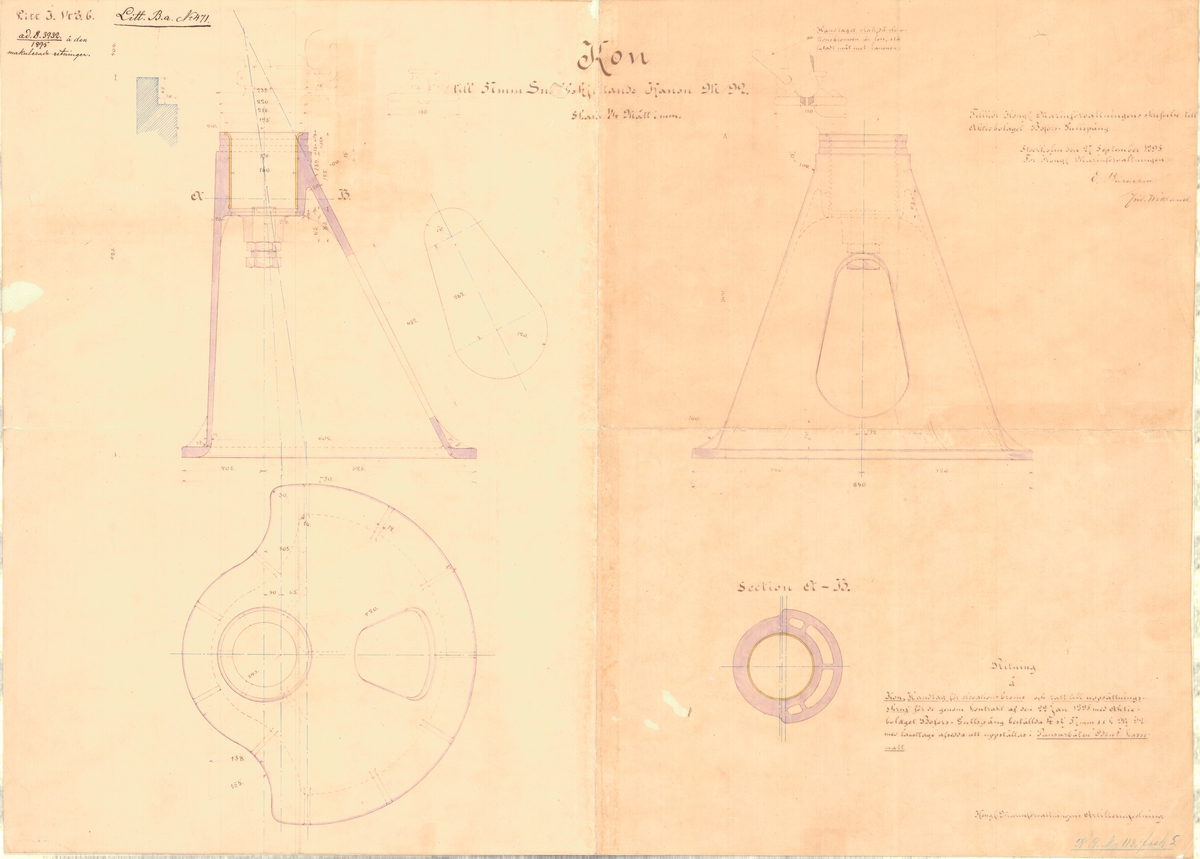 Ritning till kon till 57 mm snabbskjutande kanon m/92