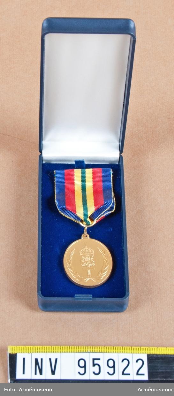 Södra militärdistriktets (MD S) förtjänstmedalj i guld, 8:e storleken (oval), 2001-2004.  Band: rött med breda mörkblå kanter och en grön rand i mitten åtföljd på vardera sidan av en bredare gul rand.  Medalj i blå ask klädd med blå sammet och vit siden.