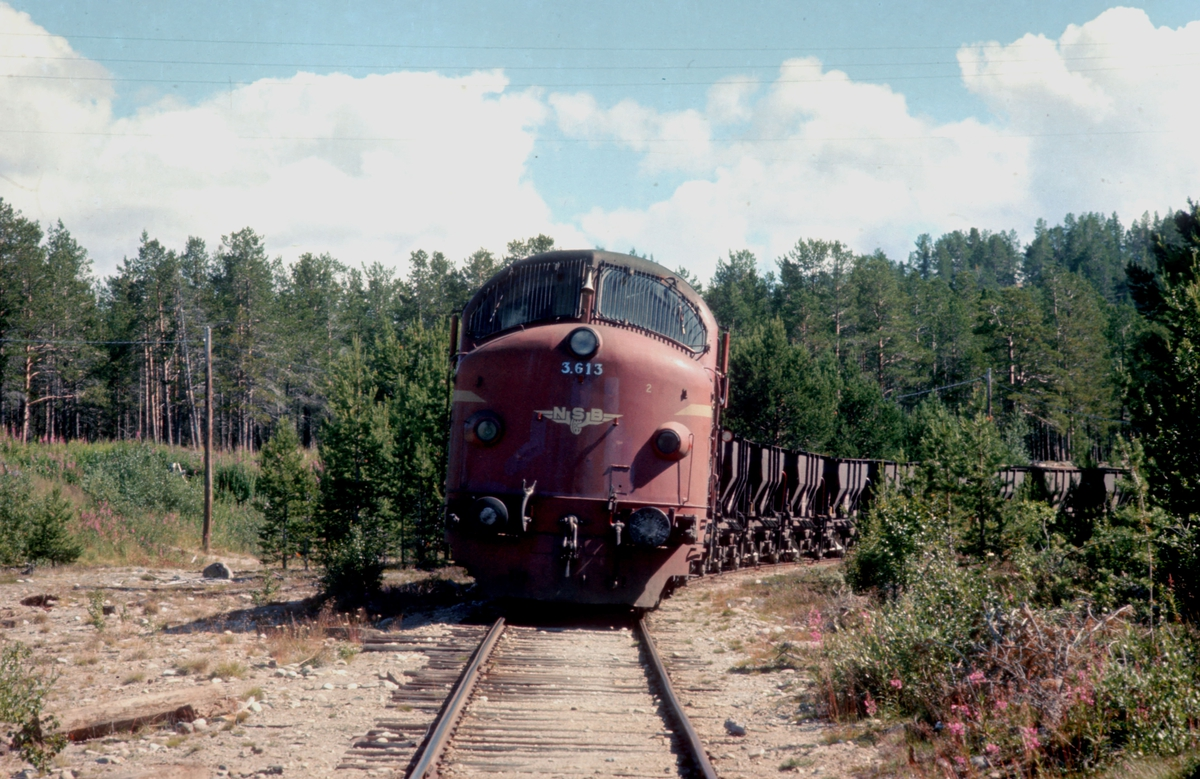 Grustog i grustaksporet i Os i Østerdalen. Dieselelektrisk lokomotiv Di 3 610 og grusvogner litra Ø4 (XØ4).