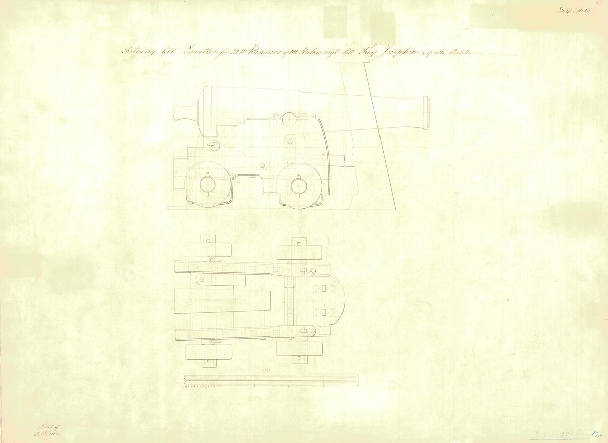 Ritning till lavetter för 24 pundiga kanoner av 100 kulors vikt till fregatten Josephine