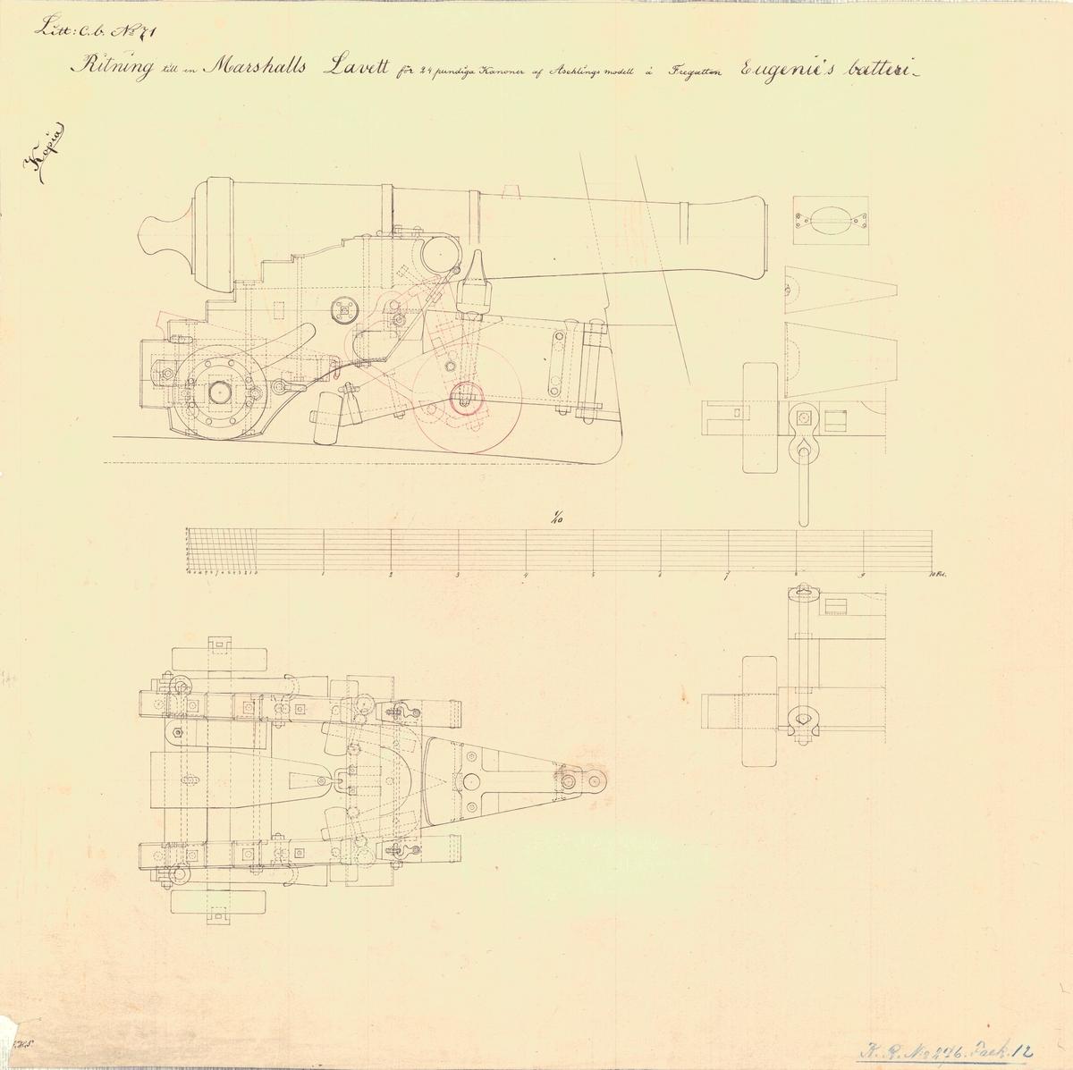 Ritning till en Marshalls lavett för 24 pundiga kanoner av Aschling modell å fregatten Eugenies batteri