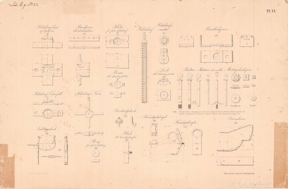 14 st ritningar visande 6 pundig kanon och 12 pundig granatkanon av järn med lavettage av 1831 års modell