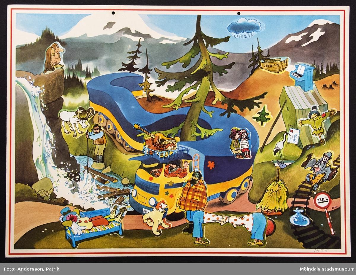 Sveriges Televisions julkalender: Långtradarchaufförens berättelser, som sändes på SVT 1 mellan den 30 november - 24 december 1975. Motivet på kalendern är tecknat av Per Åhlin. I övre kanten på kalendern finns två hål för upphängning.