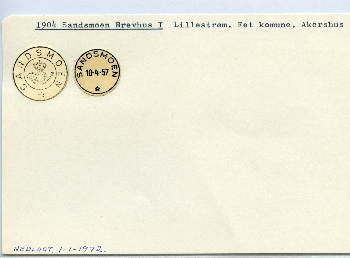 Stempelkatalog  1904 Sandsmoen, Fet kommune, Akershus