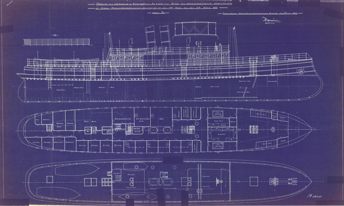 2 olika ritningar med förslag till förändring till depå- och verkstadsfartyg