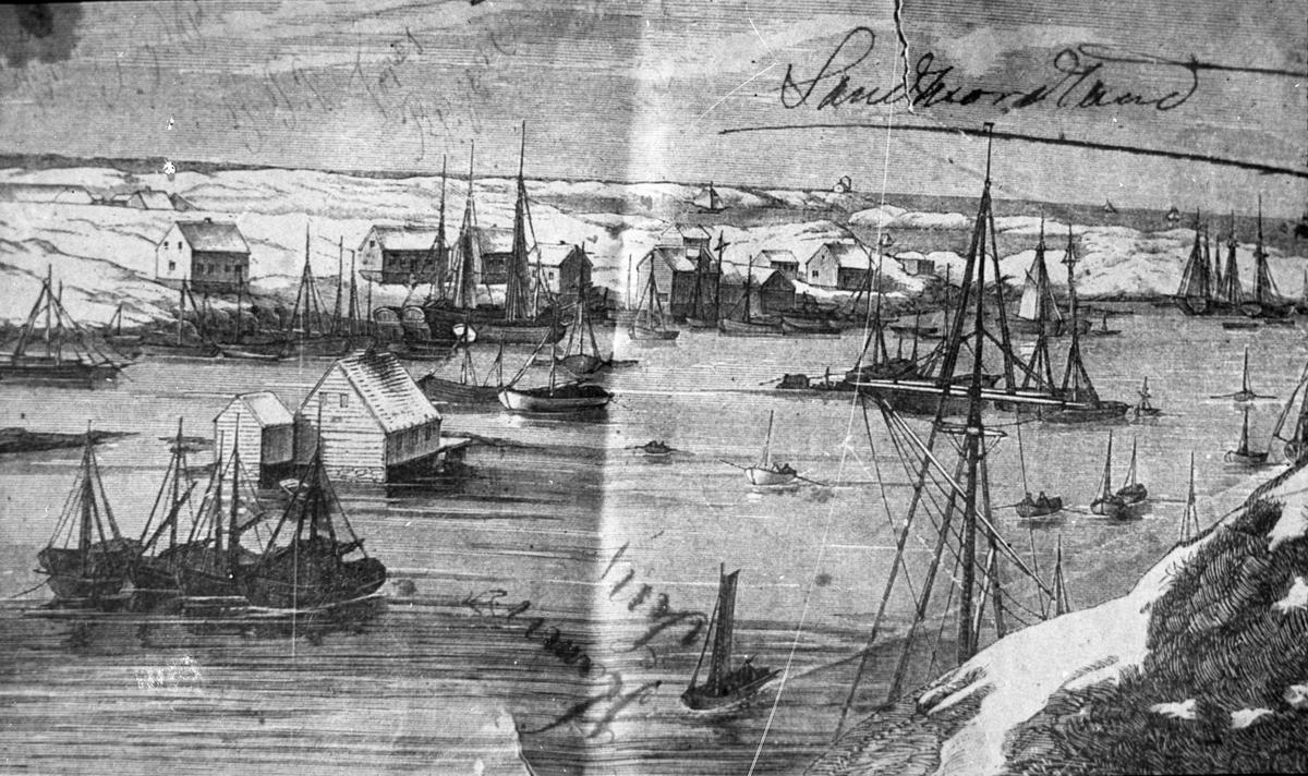 Avfotografert tegning. Seilebåter og noe større seilskip (til høyre) ankret opp ved Haugesjøen en vinterdag i 1860-årene. Robåter på sjøen. Fiskere ombord? Hus på land i bakgrunnen.