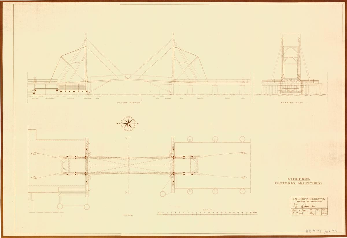 Flottans skeppsbro. Sektions och planritning