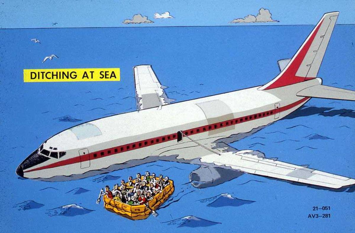 Tegning av ett fly som ligger i vannet, Boeing 737-200. Flere personer ombord i en flåte ved siden av flyet.